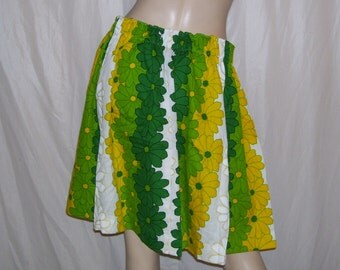Hawaiian Mini Skirt Beach Skirt Vintage Hawaii Fabric Luau Tiki Green Yellow White Daisy Hippie Mini Cruise Resort Pool Party OOAK Adult S-L