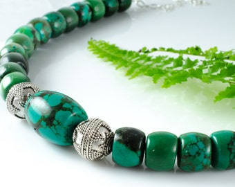 Turquoise Barrel Bead and Thai Silver Necklace