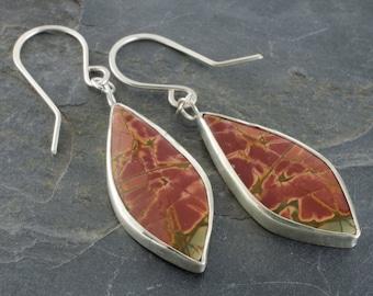 Cherry Creek Jasper Sterling Silver Feather Earrings