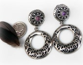 Vintage Mexican Silver Earrings with Amethyst Accents - Taxco Style Hoop Earrings - Vintage Sterling Silver Screwbacks