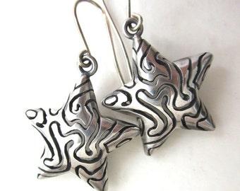 Sterling Silver Star Earrings, Funky Star earrings, Pierced domed star