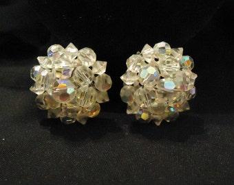Vintage Large Clear Crystal Clip Earrings