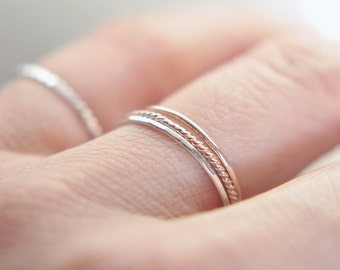 Extra Skinny silver stacking ring - thin sterling silver ring - faceted hammered texture - delicate ring - gossamer ring / Silk .8mm