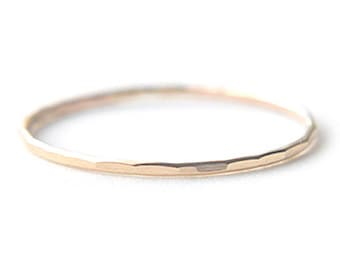 14K Solid Yellow Gold EXTRA Skinny stacking ring - delicate dainty gold ring - faceted hammered texture - thin gossamer ring / Silk 0.8mm