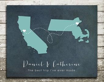 Long Distance Friendship Gift Print-Long Distance Love Relationship, Boyfriend, Girlfriend, Best Friend, Family - Two State Silhouette Print