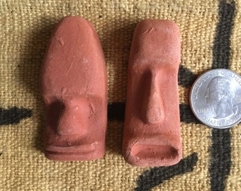 SALE:  WAS 9.00, now 5.75 Pair of Vintage Red Clay Easter Island Moai Head Pendants
