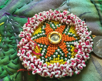SALE - 50% OFF WAS 10.00 Vintage Afghani Handmade Beaded Tribal Medallion - One of a Kind - BTM308