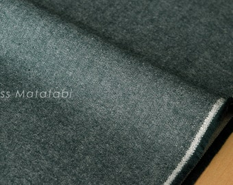 Japanese Fabric Yarn Dyed Brushed Twill - forest green - 50cm