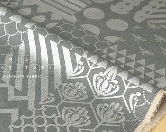 Japanese Fabric Kokka Echino - piece metallic - silver, grey - 50cm