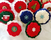 Felt dog collar flower, photo prop, holiday xmas ~ Boxer Friends Rescue felt flowers ~  - made to order
