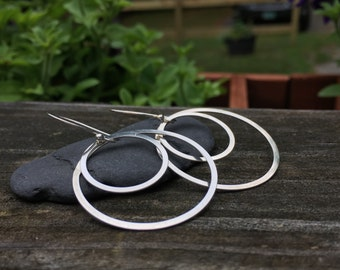 Sterling Silver Hoop Circle Earrings