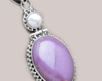 Sale: Purple Phosphosiderite Pendant, Pearl and Sterling Silver