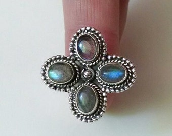 Sterling Silver Ring of Luminous Labradorite Size 7.75