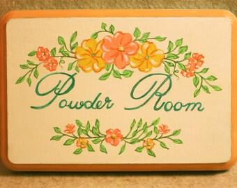 Powder Room Sign, Floral Room Sign, Bathroom Decorative Door Sign, Rectangle Wood Sign, Orange Wooden Painted Sign