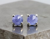 Small Rose Cut Tanzanite Stud Earrings - White Gold Studs with 6mm Natural Blue Purple Stones - Round Gold Gemstone Studs - READY TO SHIP