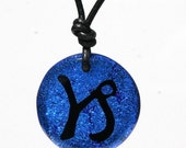 Capricorn Sign Zodiac fused Dichroic Glass Pendant Charm jewelry by zulasurfing