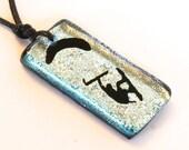 Kiteboarding Surfer Necklace Kitesurfing jewelry rectangular silver dichroic glass pendant made by Zulasurfing