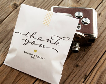 Wedding Favor Bags -  Personalized Favor - Wedding Cookie Bag, Candy Bag - Vintage Thank You Script - White Wax Lined Bags - 20 Favor Bags
