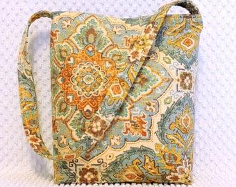 Damask Purse - Tuscan Damask Hobo Bag - Handmade Hobo Purse - Ladies Damask Handbag - Handmade Handbag - Bohemian Damask Shoulder Bag Purse