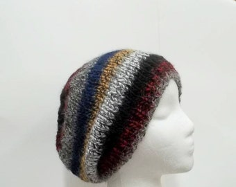 Beanie hat, multicolor stripes, handmade,  mens hats, womens hats  5248