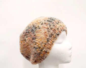 Knit slouch hat  multicolor beanie size 5234