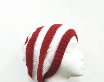 Red white knitted beanie hat  beanie beret cap5177