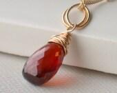 Valentine's Sale. Stunning Garnet Solitaire Necklace.