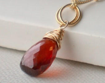 Stunning Garnet Solitaire Necklace. Garnet Pendant Necklace. Gemstone Pendant Necklace. Birthstone Necklace. January Birthstone Jewelry.