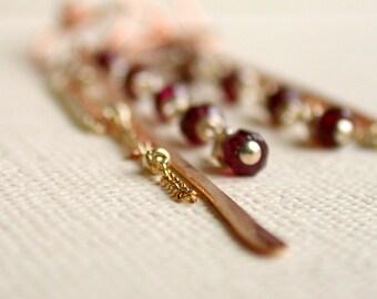 Garnet Linear Earrings. Handcrafted. Artisan. Earrings. Jewelry. Etsy.