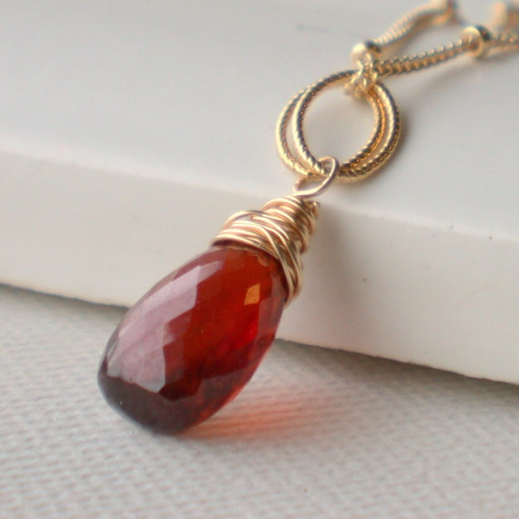 January Birthstone Necklace. Stunning Garnet Solitaire Necklace. Garnet Pendant Necklace. Gemstone Pendant Necklace.
