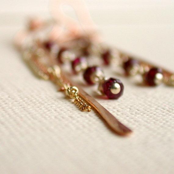 Garnet Linear Earrings