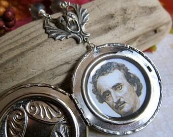 Sale - Edgar Allan Poe Spectral Hands Locket Pendant in Antique Silver