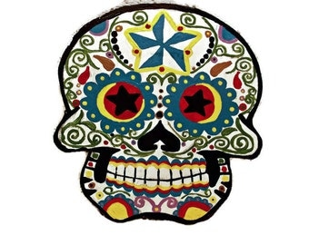 Mexican Folk Art Wooden Sugar Skull//Muertos//Day of the Dead
