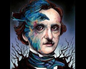 "Print 8x10"" - Edgar Allan Poe - Poetry Author The Raven Nevermore Murders in the Rue Morgue Dark Art Horror Gothic Mustache Victorian"