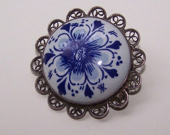 Brooch Victorian Delph Porcelain Sterling