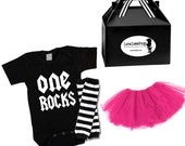 Girls 1st Birthday outfit gift set, One Rocks Onesie, Pink Tutu Skirt, Leg Warmers ...Great for photoshoots