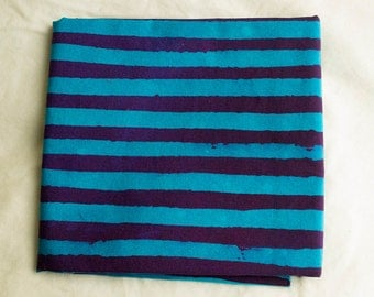 Two Stripes Hand Dyed and Patterned Cotton Fabric/ Turquoise and Purple