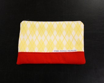 TUTONE vintage polyester zip pouch in Cherry Lemonade