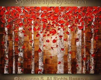 ORIGINAL Red Birch Trees Abstract Aspen Forest Landscape, Modern Wall Art for Home Decor, Palette Knife Oil Painting by Susanna