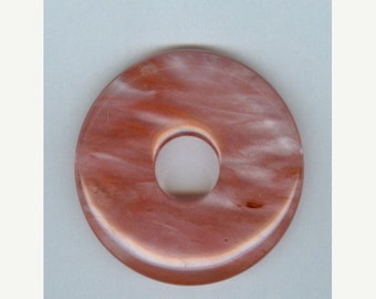 SALE 45mm Cherry Quartz Donut Pendant Bead 814M