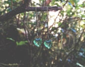 S p r i n g...Vintage Faceted Green Crystal Glass Heart, antiqued brass, dainty, boho, sweet, minimalist earrings FREE SHIPPING
