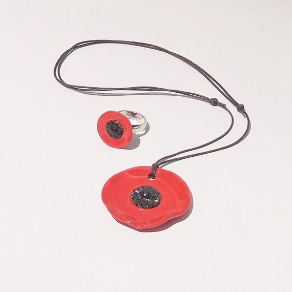 Handmade Pottery - Ceramic Red Poppy Pendant - Red Poppy Pendant - Poppy - Jewelry - Pendant - Poppy Pendant - Necklace - Adjustable Pendant
