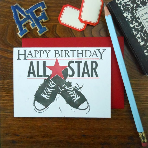 letterpress happy birthday all star greeting card black basketball sneakers with red star on blue paper