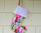Christmas Stocking With Cuff - Your Choice Of Fabric - Personalized - Custom - Mod Trees
