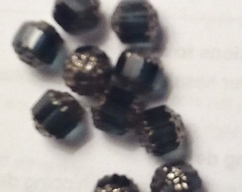 Cathedral beads medium BLUE with silver  (10) 8MM Glass