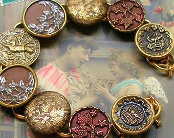 "Cupid Antique BUTTON bracelet, Victorian Eros & Flowers on gold, 7.5"" jewellery."