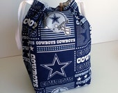 HOLIDAY SALE - Dallas Cowboys Drawstring Knitting Project bag