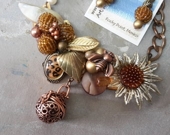 Sunflower, Bronze and a Bumble bee ~ Vintage Pieces ~ A ReCreation Assemblage Necklace with earrings