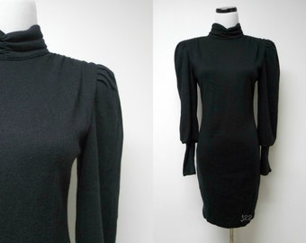 All That Jazz . 80s long sleeves mini dress . size 9 / 10 . made in USA