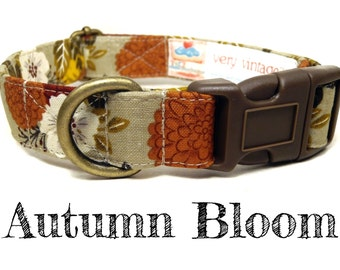 "Brown Orange Sunflowers Mums Flowers Fall Dog Collar - Organic Cotton Dog Collar - All Antique Brass Hardware - ""Autumn Bloom"""